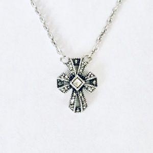 Judith Jack Sterling Marcasite Cross Necklace